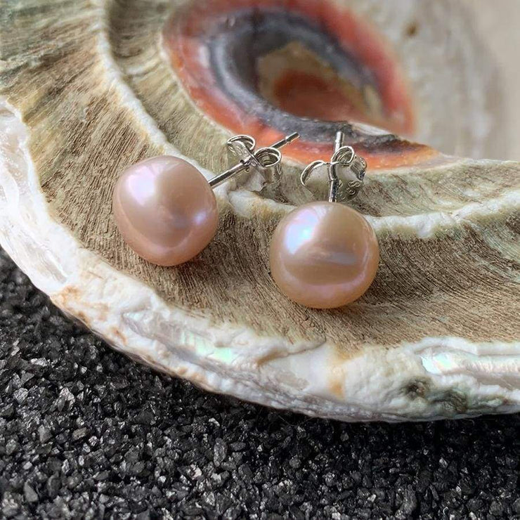 Natural Freshwater Pearl Earrings - PROMO FREE SHIPPING - 8mm Lavender