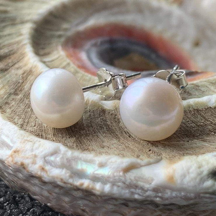 Natural Freshwater Pearl Earrings - PROMO FREE SHIPPING - 8mm White