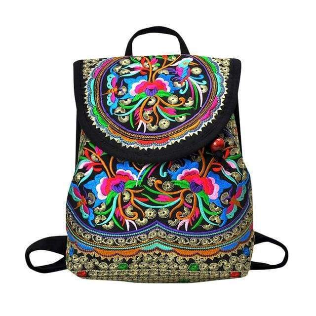 Embroidered Retro Backpack -$38 PROMO FREE SHIPPING - C / United States