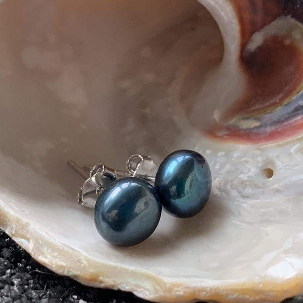 Black Natural Freshwater Pearl Stud Earrings - PROMO FREE SHIPPING