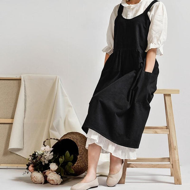 Grandmothers Old Fashioned Apron Dress - Black