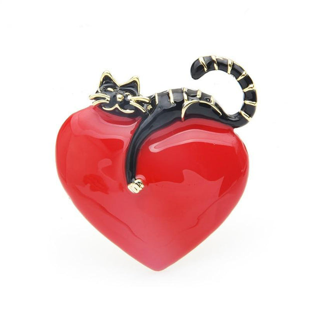 Lazy Cat Love Brooch - $24.99 PROMO FREE SHIPPING