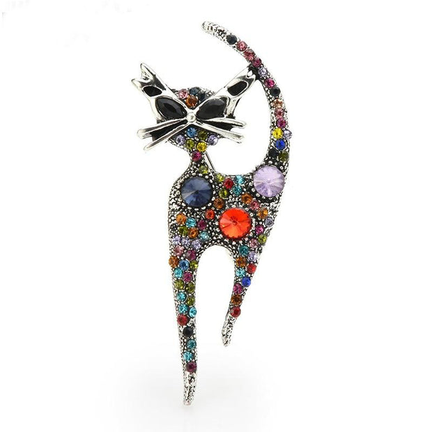 Retro Inspired Rhinstone Cat Brooch - $22.99 PROMO FREE SHIPPING