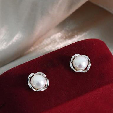 Natural Freshwater Pearl Rose Flower Stud Earrings - $49.99 PROMO FREE SHIPPING