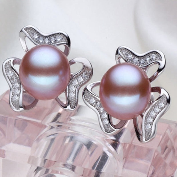 Natural Freshwater Pearl Sterling Silver & Rhinestone Stud Earrings - $69.99 PROMO FREE SHIPPING