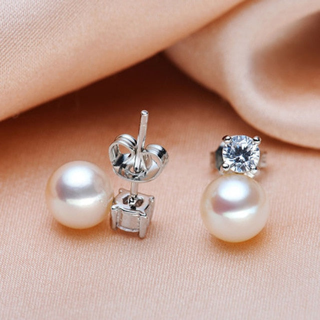 Natural White Freshwater Pearl And Zircon Stud Earrings - $49 PROMO FREE SHIPPING
