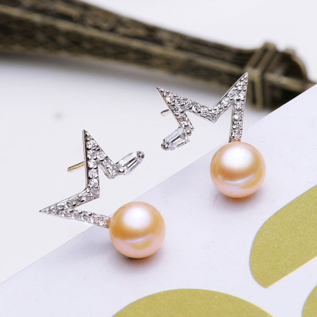 Freshwater Natural Pearl Star Stud Earrings  - $49 PROMO FREE SHIPPING