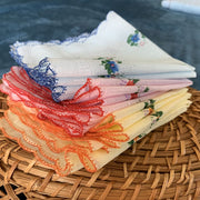 Set of 12 - 100% Cotton Flower Print Handkerchiefs - $14 PROMO FREE SHIPPING TODAY