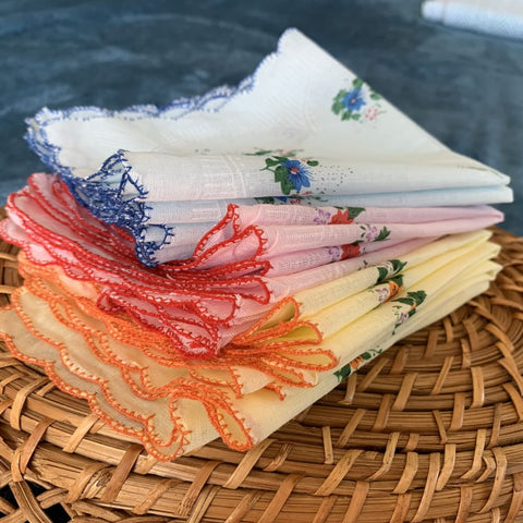 Set of 12 - 100% Cotton Flower Print Handkerchiefs - $12 PROMO FREE SHIPPING TODAY