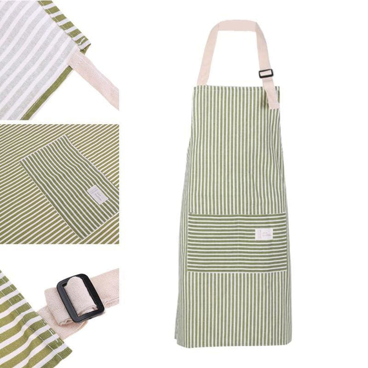 Striped Cotton Linen Apron - Green / OneSize