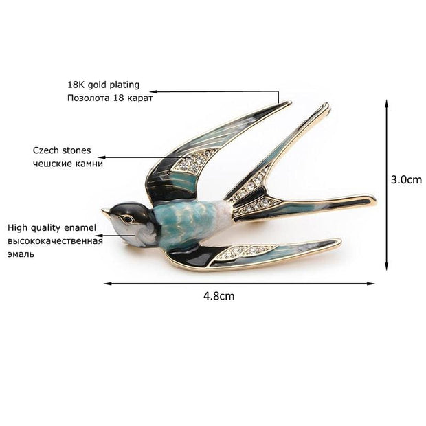 Stylish Swallow Brooch - $19 PROMO FREE SHIPPING