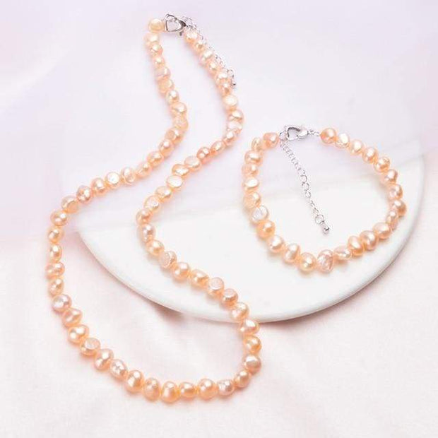 Freshwater Pearl Necklace & Bracelet - $60 PROMO FREE SHIPPING - Peach / 45cm