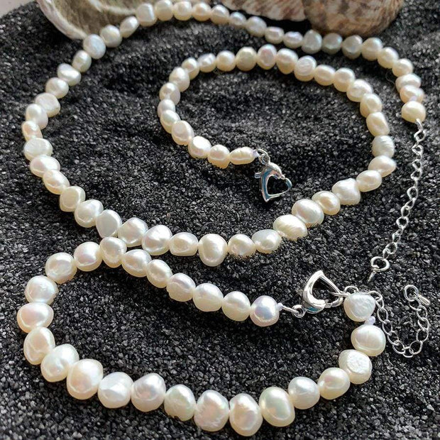 Freshwater Pearl Necklace & Bracelet - $60 PROMO FREE SHIPPING - White / 45cm