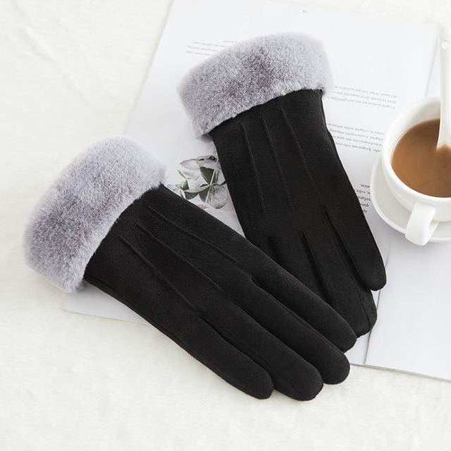 Touch Screen - Womens Warm Double Thick Plush Gloves - Black - Classic