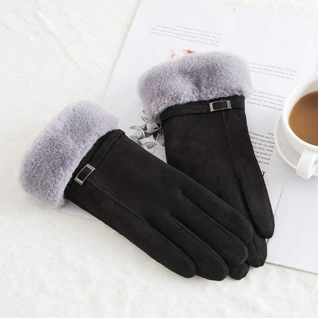 Touch Screen - Womens Warm Double Thick Plush Gloves - Black - Elegance