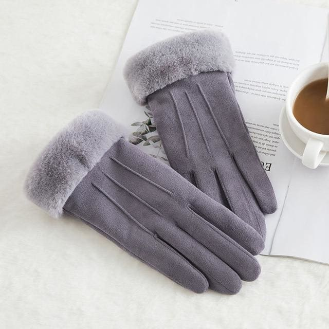 Touch Screen - Womens Warm Double Thick Plush Gloves - Gray - Classic