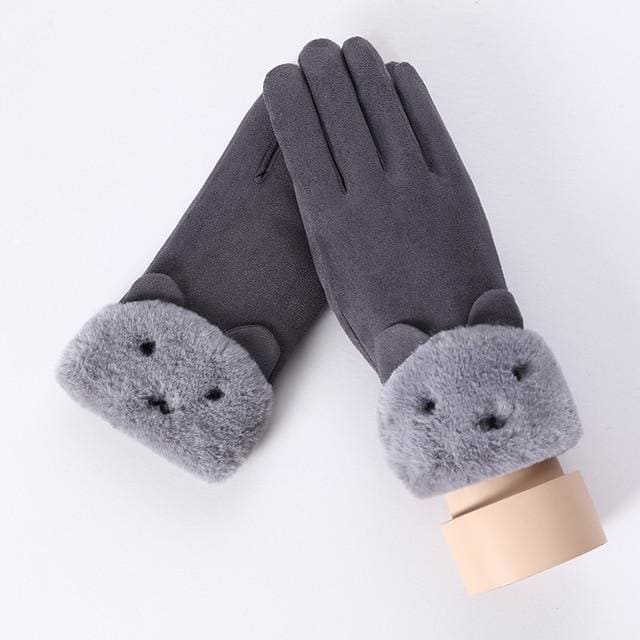 Touch Screen - Womens Warm Double Thick Plush Gloves - Gray - Cute