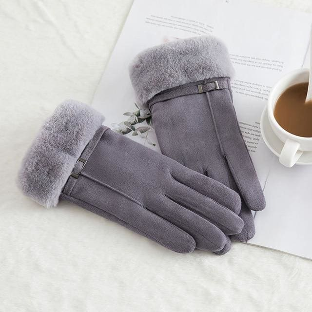 Touch Screen - Womens Warm Double Thick Plush Gloves - Gray - Elegance