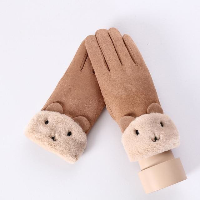 Touch Screen - Womens Warm Double Thick Plush Gloves - Khaki - Cute