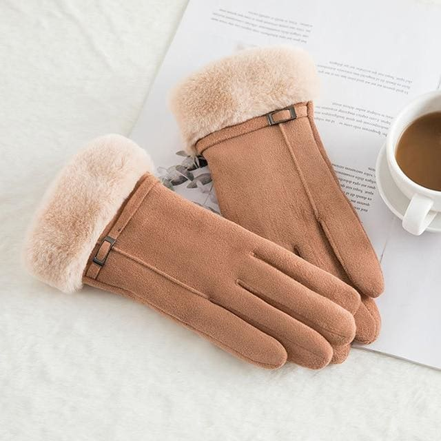 Touch Screen - Womens Warm Double Thick Plush Gloves - Khaki - Elegance