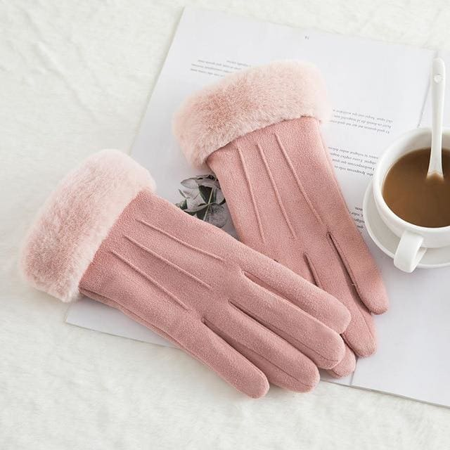 Touch Screen - Womens Warm Double Thick Plush Gloves - Pink - Classic
