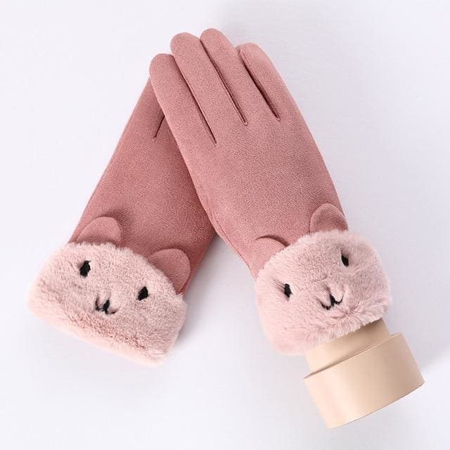 Touch Screen - Womens Warm Double Thick Plush Gloves - Pink - Cute