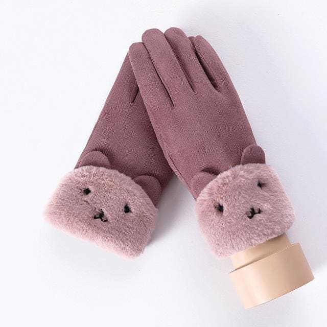 Touch Screen - Womens Warm Double Thick Plush Gloves - Purple - Cute
