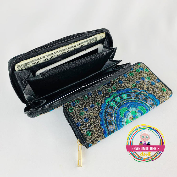 Zippered Embroidered Wallet - $19.95 PROMO FREE SHIPPING