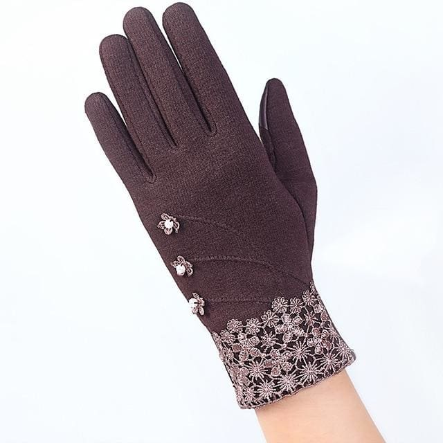 Womens Touch Screen Gloves - Elegant - Brown