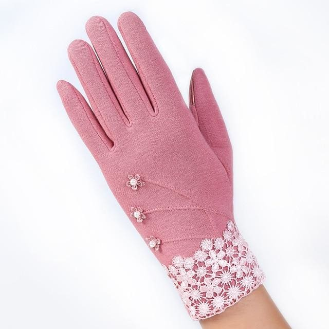 Womens Touch Screen Gloves - Elegant -Pink