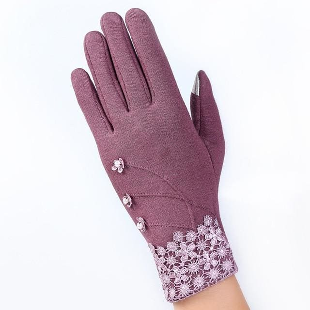Womens Touch Screen Gloves - Elegant -Purple