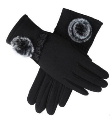 Womens Touch Screen Gloves - Lace & Faux Fur - Black