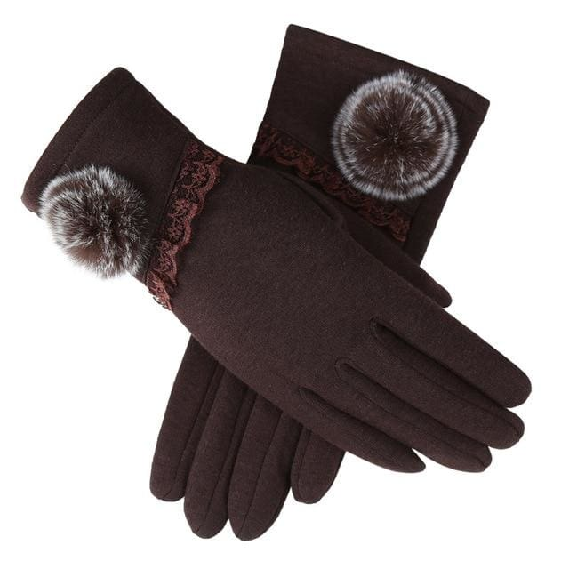 Womens Touch Screen Gloves - Lace & Faux Fur - Brown