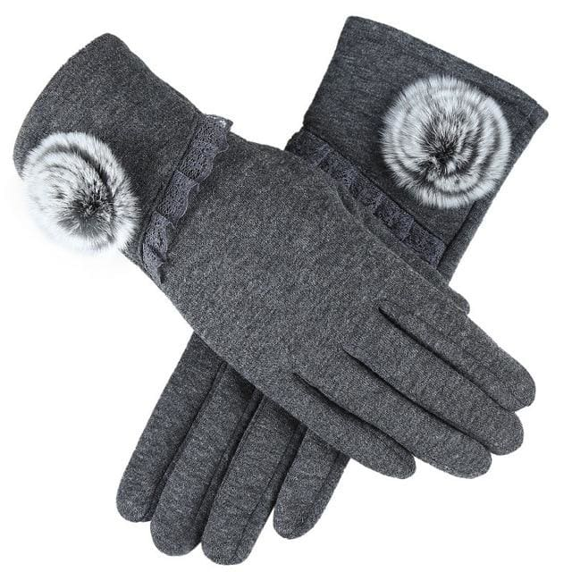 Womens Touch Screen Gloves - Lace & Faux Fur - Gray