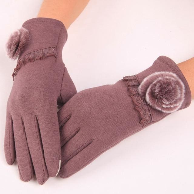Womens Touch Screen Gloves - Lace & Faux Fur - Purple