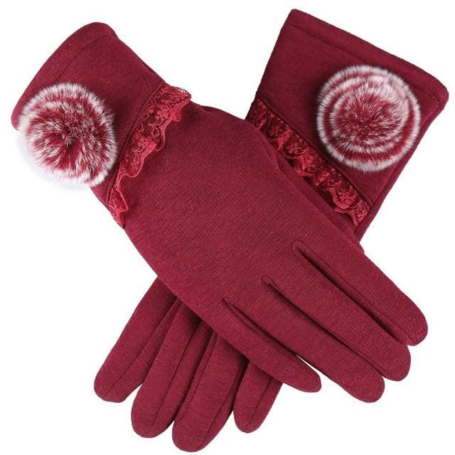 Womens Touch Screen Gloves - Lace & Faux Fur - Red
