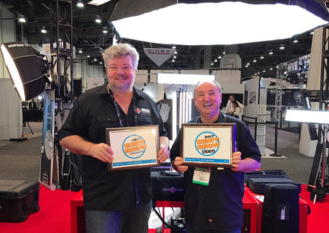 Peter Plesner and Toby Sali receiving 2 NewBay Best of Show Awards at NAB