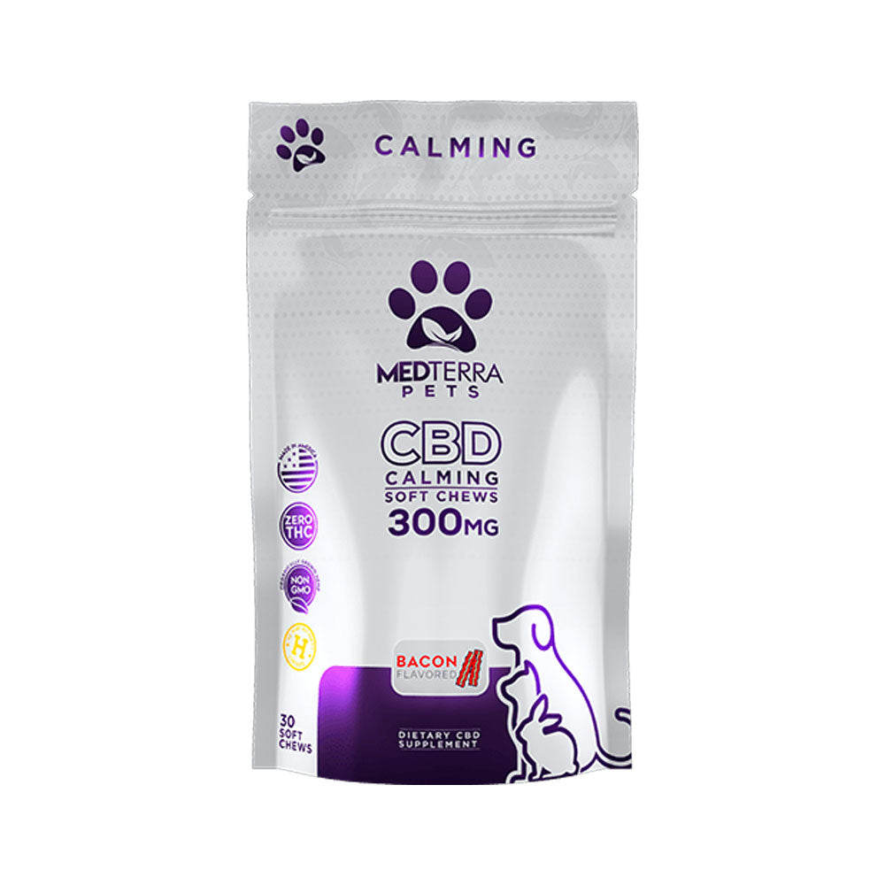 CBD bacon flavored pet calming soft chews 300 mg