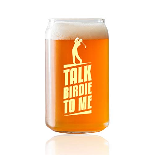 Talk Birdie To Me- Engraved Golfer Glass- 16 oz Beer Can Style Glass