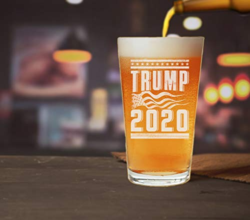 Trump 2020 with American Flag Pint Glass
