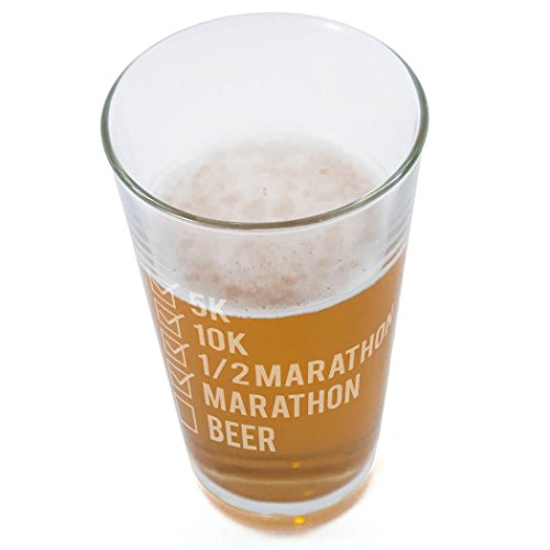 Runners Checklist Engraved Beer Pint Glass