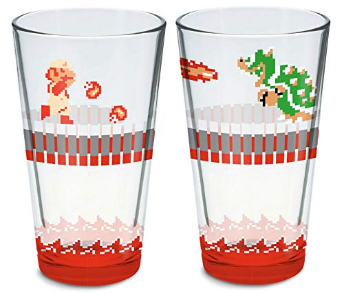 Super Mario Bros Dungeon Fire Mario and Bowser Pint Glass - 2 Pack Set