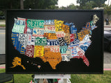 Boxed Cutout License Plate Map of the USA