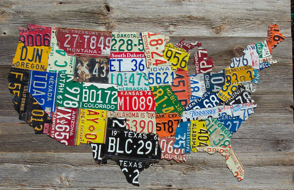 USA License Plate Map on Vintage Barnwood Aaron Foster Designs
