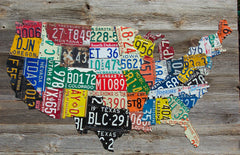 USA License plate map vintage barnwood