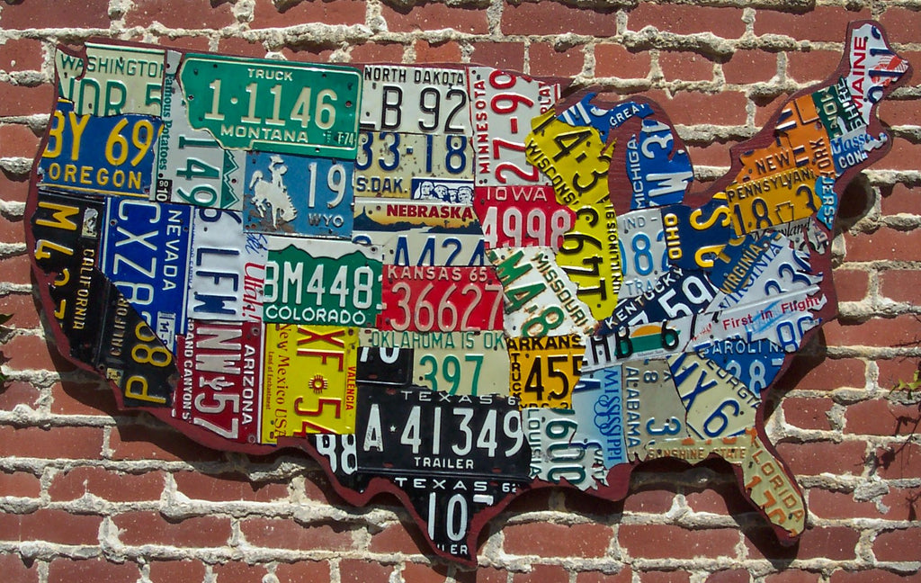 Cutout Style Usa License Plate Map – Aaron Foster Designs