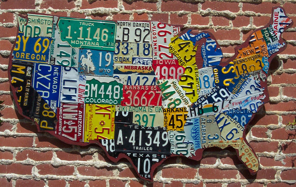 """Cutout"" Style USA License Plate Map"