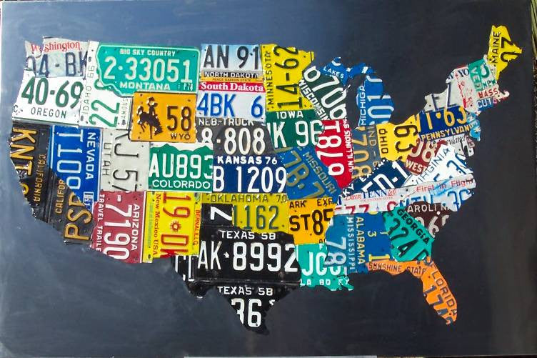 Stainless License Plate Map Of The USA Aaron Foster Designs - License plate usa map