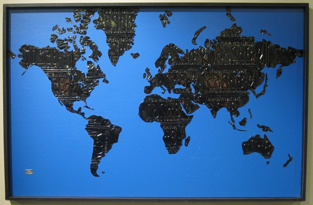 Us Map Made Out Of License Plates.World Map In License Plates Aaron Foster Designs