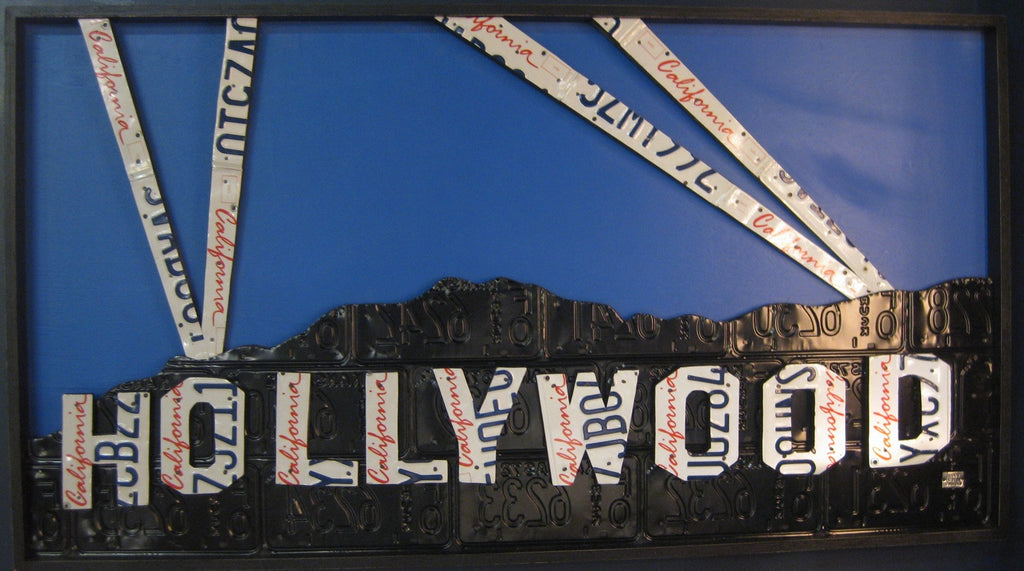 Hollywood Sign Made From Vintage License Plates